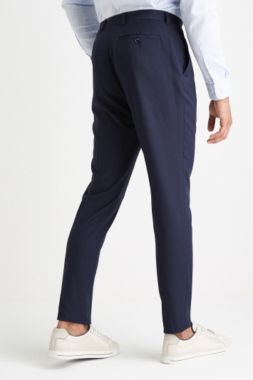 Moss London Slim Muscle Fit Navy Pindot Trousers