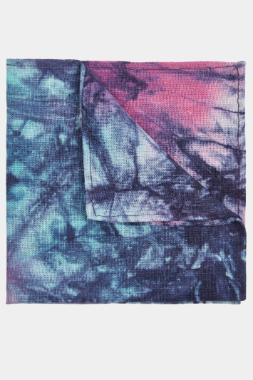 Moss London Navy & Pink Tie-Dye Pocket Square