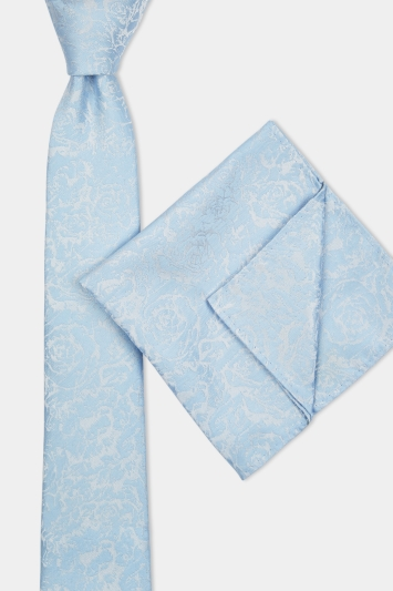 Moss London Sky Tonal Rose Tie & Pocket Square Set