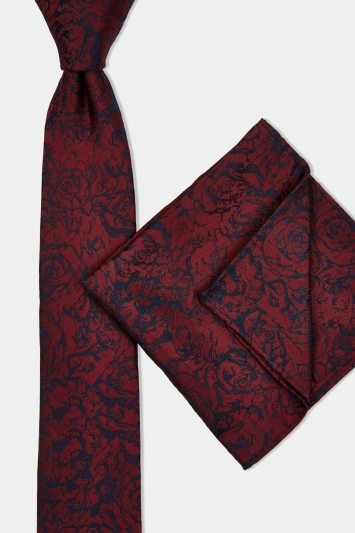 Moss London Wine & Navy Rose Tie & Pocket Square Set