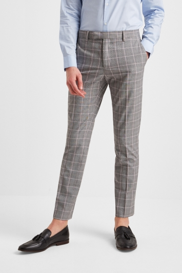 Moss London Slim Fit Grey Pink Check Trousers