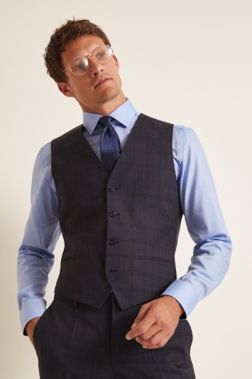Hugo by Hugo Boss Navy Check Waistcoat