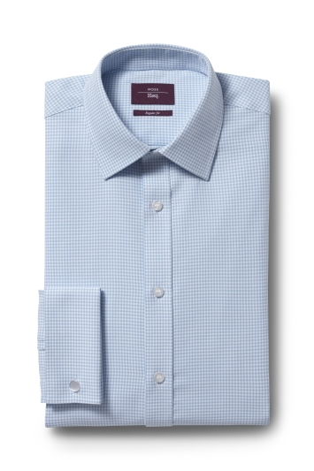 Moss Esq. Regular Fit Aqua Double Cuff Dobby Shirt
