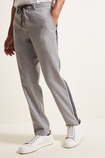 Moss London Slim Fit Grey With Blue Stripe Cropped Trousers