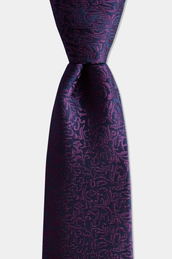 Moss 1851 Navy & Purple Leaf Pattern Silk Tie