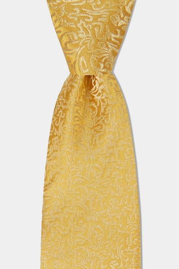 Moss 1851 Yellow Tonal Leaf Pattern Silk Tie