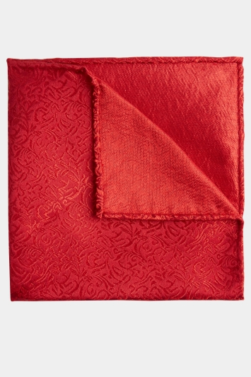 Moss 1851 Red Tonal Leaf Pattern Pocket Square