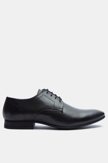 Moss London Hartwood Black Plain Derby Shoe