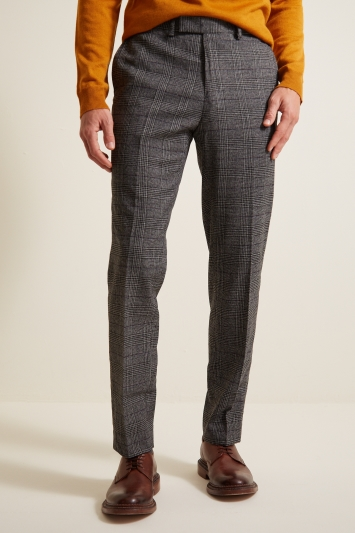 Moss 1851 Tailored Fit Grey with Wine and Navy Prince Of Wales Check Trousers