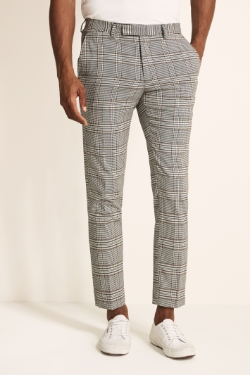 Moss London Slim Fit White with Gold Puppytooth Windowpane Trouser
