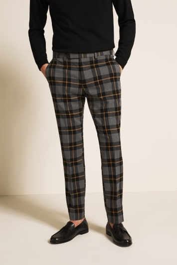 Moss London Slim Fit Grey with Yellow Tartan Check