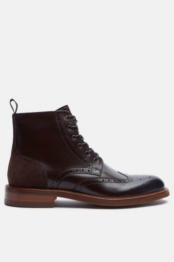 John White Midland Brown Contrast Brogue Boot