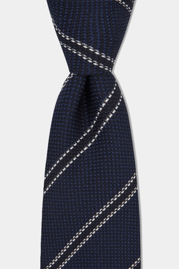 Savoy Taylors Guild Navy Textured with White Stripe Silk Italian Tie