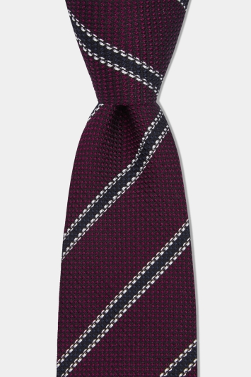 Savoy Taylors Guild Burgundy Textured with White Stripe Silk Italian Tie