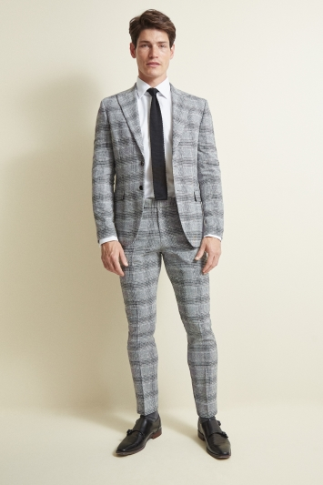 Moss London Slim Fit Black and White Check Jacket