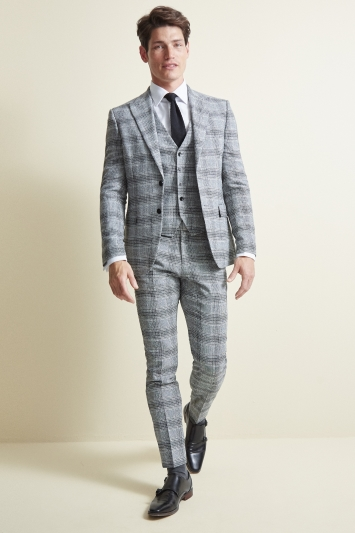 Moss London Slim Fit Black & White Check Jacket