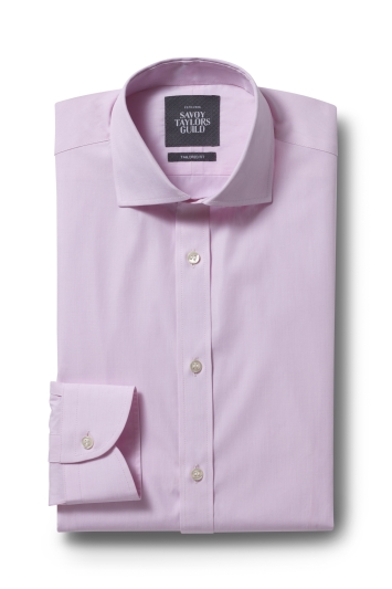 Savoy Taylors Guild Tailored Fit Pink Single Cuff Shirt