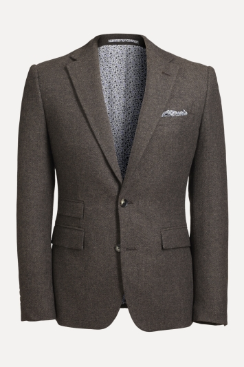 Moss London Slim fit Chocolate Herringbone Tweed Jacket