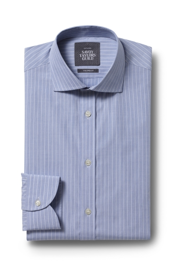 Savoy Taylors Guild Tailored Fit Sky Single Cuff Stripe Shirt