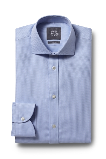 Savoy Taylors Guild Tailored Fit Sky Single Cuff Lattice Texture Shirt