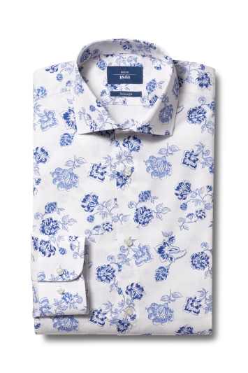 Moss 1851 Tailored Fit Blue Single Cuff Floral Shirt