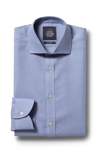 Savoy Taylors Guild Tailored Fit Blue Single Cuff Dobby Shirt