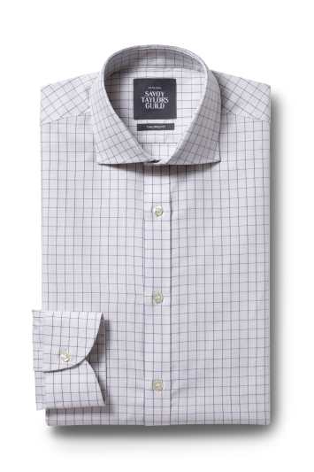 Savoy Taylors Guild Tailored Fit Neutral Single Cuff Check Shirt