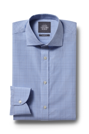 Savoy Taylors Guild Tailored Fit Blue Single Cuff Check Shirt