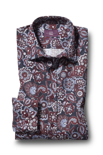 Moss Esq. Regular Fit Wine Single Cuff Paisley Print Shirt