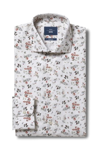 Moss 1851 Tailored Fit Ecru Single Cuff Floral Print Shirt