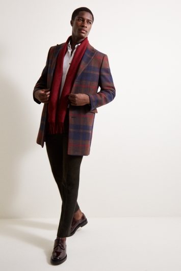 Moss London Slim Fit Red Check Overcoat