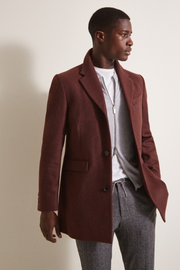 Moss London Slim Fit Rust Overcoat
