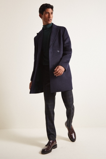 Moss London Slim Fit Navy Double Breasted Double Faced Overcoat