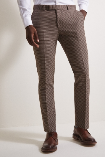 Moss London Slim Fit Brown Puppytooth Trouser