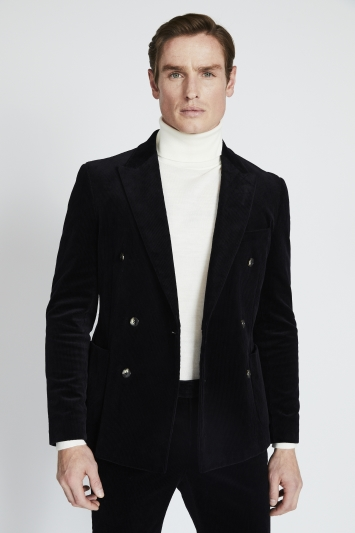 Moss London Slim Fit Ink Corduroy Double Breasted Jacket