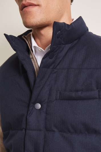 Moss 1851 Tailored Fit Navy Gilet with Poppers