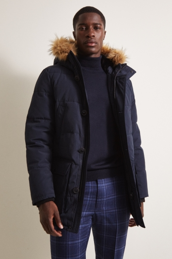 Moss London Slim Fit Navy Arctic Parka Faux Fur Lined
