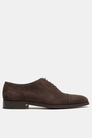 Moss 1851 Richmond Brown Suede Toe Cap Oxford Shoes