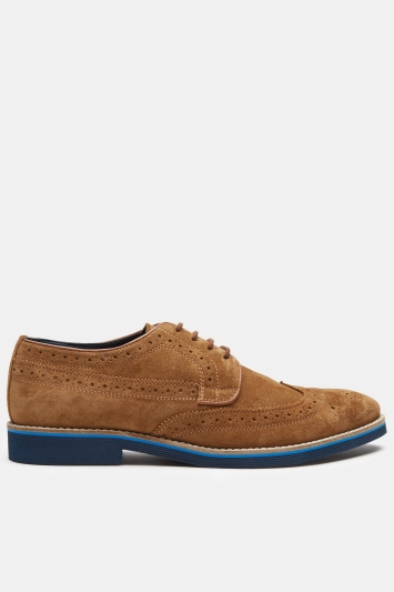 Moss London Kempley Tan Suede EVA-Sole Brogue