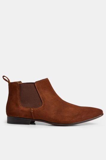 Moss London Hanbury Tan Suede Chelsea Boots