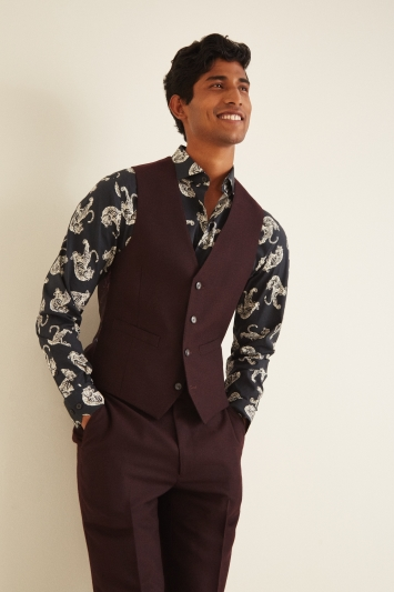 French Connection Slim Fit Malbec Flannel Waistcoat