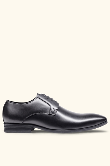 Moss London Fitzroy Black Derby Shoes