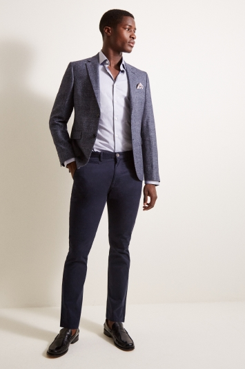 DKNY Slim Fit Blue Texture Jacket