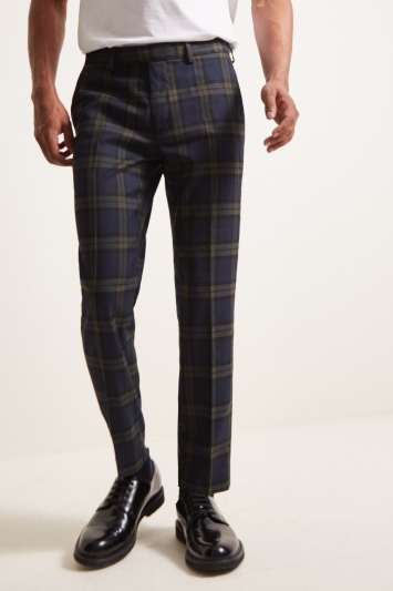 Moss London Slim Fit Bold Blue Tartan Windowpane