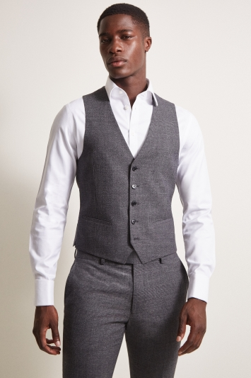 DKNY Slim Fit Charcoal Check Waistcoat