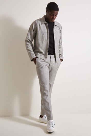 Moss London Slim Fit Light Grey Texture Bomber Jacket