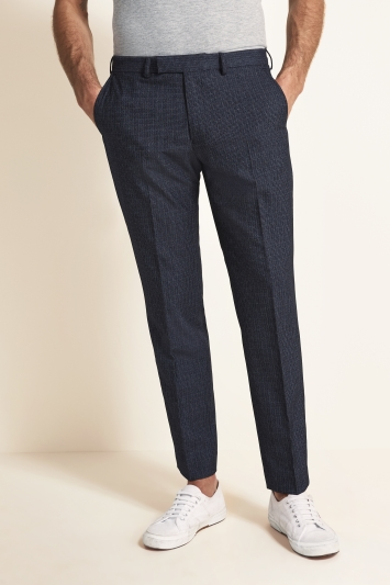 Moss 1851 Tailorered Fit Mid Blue Puppytooth Trouser