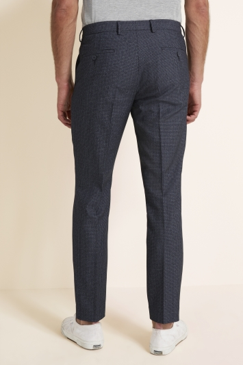 Moss 1851 Tailored Fit Mid Blue Puppytooth Trousers