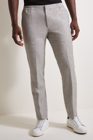 Moss London Slim Fit Light Grey Texture Twinset Trousers