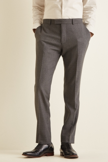 Moss London Slim Fit Grey Textured Trouser
